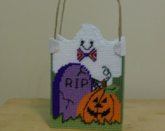 Needlepoint Halloween Gift Basket, Ghost and Pumpkin Gift Basket, Graveyard Scene Gift Basket