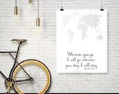 Ruth 1:16, Wherever you go I will go, Christian Wall Decor, Couples Decor,Christian Wall Art,INSTANT DOWNLOAD,Scripture Art, Bible Verse Art