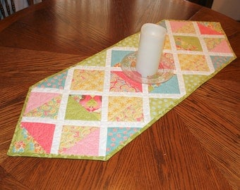 Spring and Easter Triangles Table Runner with Moda's Swanky Cotton Fabric