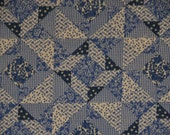 Vintage Cheater Quilt Fabric Blue Calico Checks