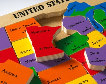 US Map Puzzle & State Capitals. Learning states and capitals is fun for preschool and elementary children.  Adults also enjoy relearning.