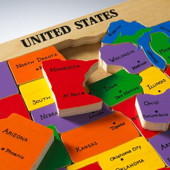 US Map Puzzle State Capitals Learning States And Capitals - Map of us puzzle