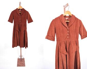 1940s dress vintage 40s brown corduroy Star Teen shirt dress XS