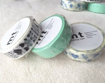 mt Washi Masking Tape - Heart Line / Heart Scale / Heart Stamp Blue - mt deco 2016SS