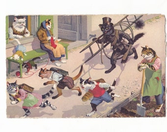 Vintage Max Kunzli Anthropomorphic Naughty Cats  Illustrated Postcard Card 1950's
