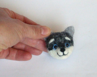 "Dog Brooch, 2"", needle felted miniature, dog pin, white, handmade, wool, Siberian husky, puppy,"