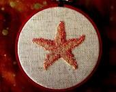 Starfish Tropical Needlework Wall Hanging Beach Corals Fabric Art Seashore Beachy