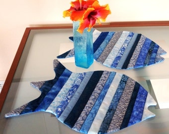 Fish Placemats China Blue Dinner Placemats Blue Multicolor Set of Two