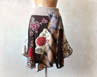 Women Art Skirt Patchwork Design Flared Flirty Skirt Brown Earth Tones Stretch Waist Plus Size Bohemian Clothing Layers Skirt XL 1X 'MORGAN