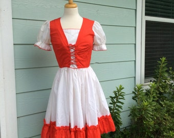 Vintage Red and White Dress Corset Style Costume Reflections of Evie