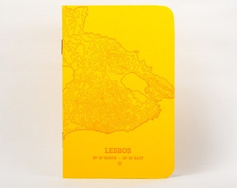 Lesbos Island Letterpress Notebook Yellow - Pack of 3