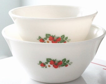 Two McKee Milk Glass Strawberry Bell Mixing Bowl