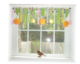 FREE SHIPPING! Savings of Twenty Dollars Shipping Costs! Happy Kitchen Whimsical Kitschy Citrus Theme Stained Glass Window Treatment
