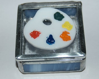 Artist's Palette Stained Glass Trinket Box