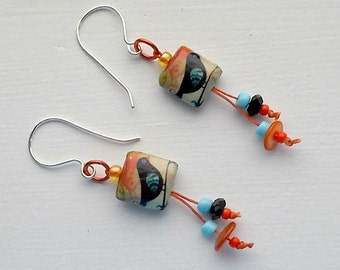 Earrings, birds, handmade