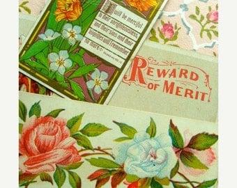 20PercentOff Antique 1800s Gorgeous Victorian Reward of Merit Card Lot N041