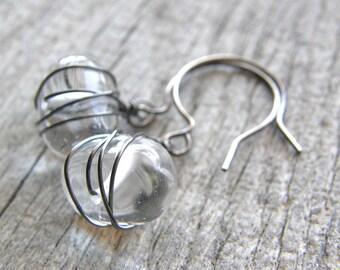 Crystal Quartz Earrings, Dainty Clear Stone Sterling Silver Earrings