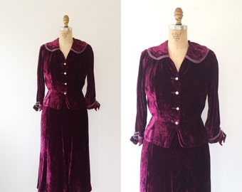 1940s dress / vintage velvet suit / Gloria Swanson dress