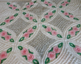 """one pieces vintage Chenille Fabric 46""""x 88"""" (90-POF)"""