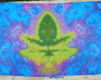 "Cannabis Leaf Tie Dye Tapestry #19 (Dharma Trading Co. Size 44"" x 72"") (A Series of 420)"