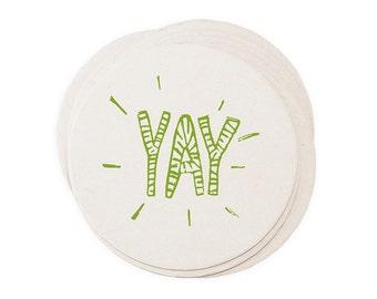 Yay Celebration Letterpress Paper Coasters