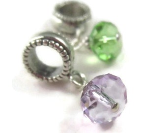 Crystal Dangle Charm Lymphoma Jewelry for European Bracelet in Sterling Silver, Violet, Lime Green, Hodgkins