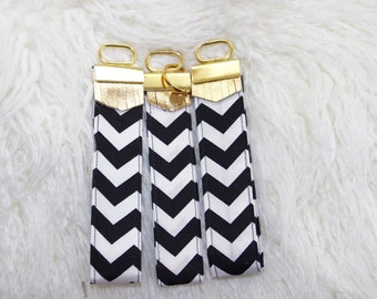 Key Fob Wristlet, Black and White Chevron Key Fob,Wristlet Key Chain, Bridesmaids Gift, Gift For Her, One key fob listing
