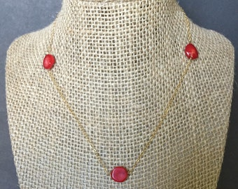 Delicate red coral necklace