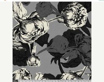SALE Le Jardin Black Grey White Floral Fabric - P & B Textiles