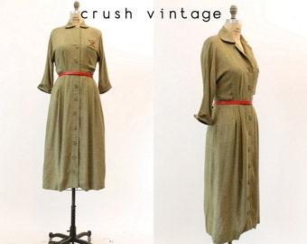 40s Embroidered Dress Small / 1940s Vintage Fine Wool Crest Dress / Ambassador Classics Dress