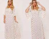 Vintage 70s Floral PRAIRIE Dress Boho Maxi Dress HIPPIE Wedding Dress Boho Wedding