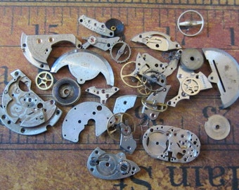 Vintage WATCH PARTS gears - Steampunk parts - Z72 Listing is for all the watch parts seen in photos