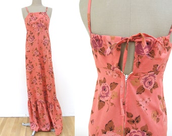 Vintage 70s Pink Floral Maxi Dress XS TALL // Hawaiian rose sundress 1970s size extra small