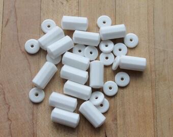 vintage white plastic barrel and heishi beads,white barrel beads,white heishi beads, white,vintage barrel beads, vintage heishi beads,