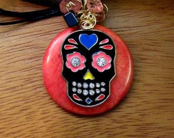 Red Jasper Sugar SKULL Necklace- Day of the Dead-  rose quartz, black onyx, wire wrapped, rhinestones, gemstones, girlfriend,