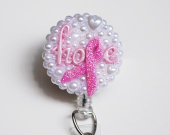 Breast Cancer Hope ID Badge Reel - Retractable ID Badge Holder - Zipperedheart