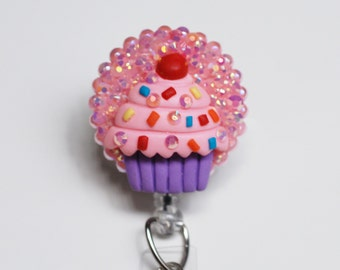 Frosty Pink Cupcake ID Badge Reel - RN ID Badge Holder - Zipperedheart