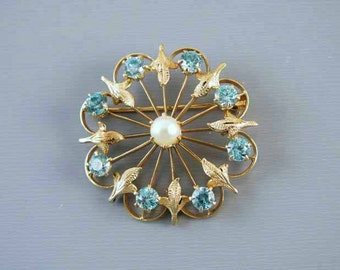 Vintage Retro Moderne 14k gold genuine blue zircon and cultured pearl brooch pin signed Binder Brothers, INC.
