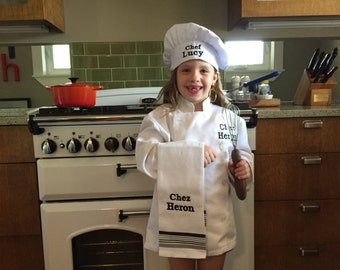 Chef Jacket and Chef Hat for the Aspiring Young Chef - Personalized and Embroidered - See Sizing Chart