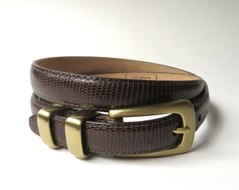 vintage Brighton Narrow Snakeskin Embossed Dark Brown Leather Belt