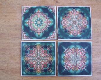 Ceramic Coasters, Mandala, Nature Photography, Photo Coaster, Kaleidoscope, Wall Decor, Coral Aloe Flower