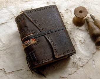 The Wandering Gypsy - Dark Brown Leather Journal, Fabric Patch, Aged Paper, OOAK