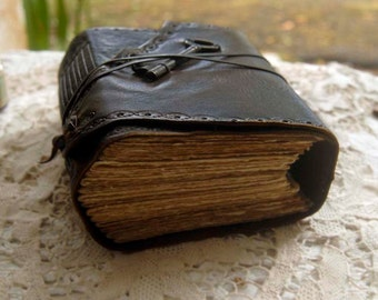 The Storyteller - Dark Brown Leather Journal, Extra Thick, Tea Stained Pages, Vintage Key - OOAK