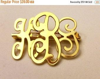 50% OFF 3 Letters KBG Script Gold Tone Vintage Pin Brooch Initials pin