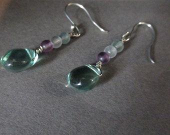 Fluorite earrings Sterling Silver