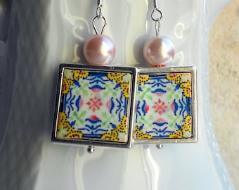 Portugal  Antique Azulejo Tile 925 SILVER FRAMED Earrings,  Gold, Pink and Blue - Aveiro - waterproof and reversible 570 SILVER