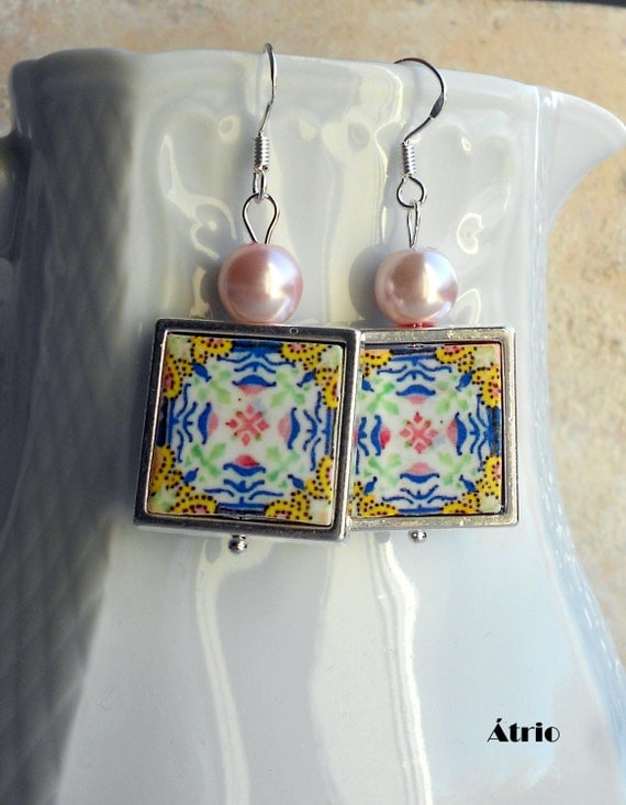 Silver Earrings Portugal Tile Portuguese Antique Azulejo FRAMED  Gold, Pink and Blue - Aveiro - waterproof and reversible Gift Boxed 570