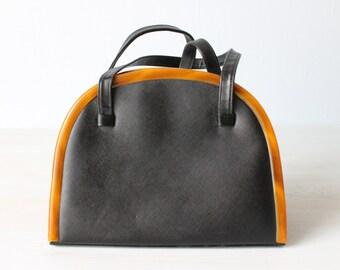 Vintage Black and Carmel 1960s Purse Satchel Handbag / 1960s Purse / Novelty Handbag / Frame Handbag