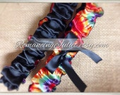 Tye Dye Hippie Dominant Red Luxe Bridal Garter Set..You Choose the Bow Colors..shown with black accent