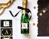 Art Deco Border // Gold Foil Effect Mini Champagne Bottle Labels //  Custom Wine Labels // Wedding, Bridal Shower or Bachelorette Party